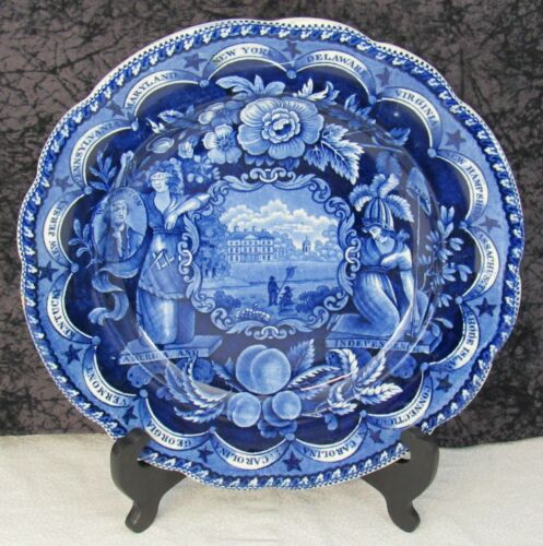 """Staffordshire Blue Transferware Liberty & Justice States 10 5/8"""" Dinner Plate #2"""