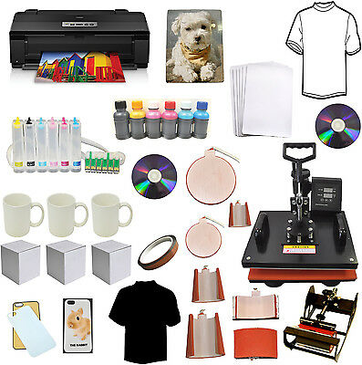 8in1 Sublimation Heat Transfer Press 13x19 Wireless Printer Ciss Ink Kit Bundle