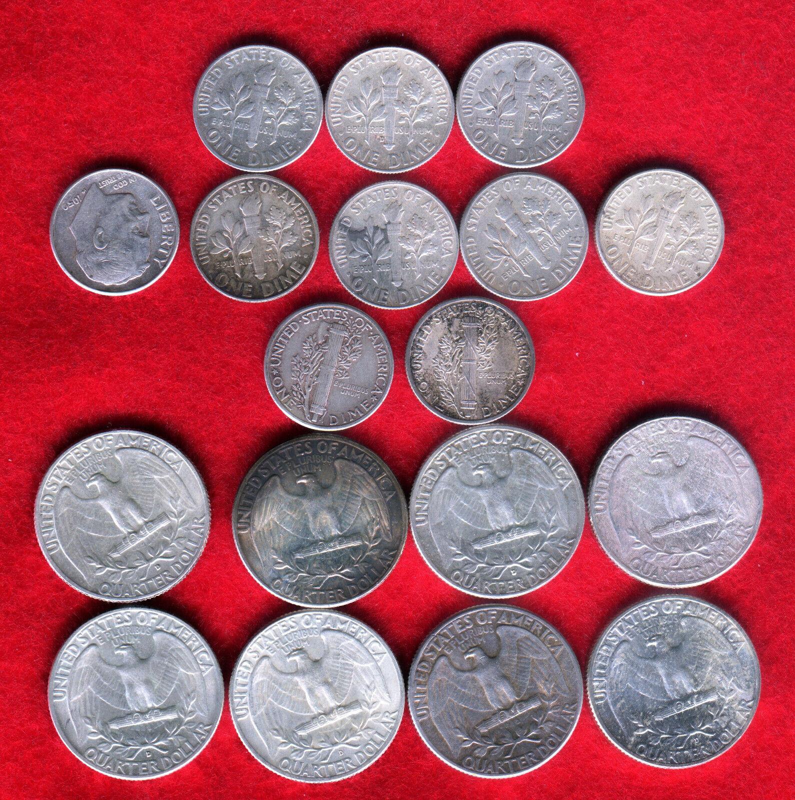 3 FACE 90 SILVER COINS WITH 2 MERCURY DIMES, 8 WASHINGTON QUARTERS, 8 DIMES - $59.99