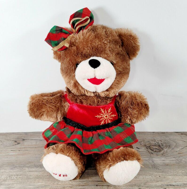 Dan Dee 2018 Snowflake Teddy Soft Christmas Bear w/Red Green Plaid Dress & Bow