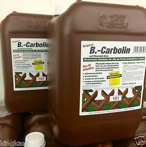 2x 10L B.CARBOLIN 20L HOLZLASUR,HOLZ SCHUTZ LASUR,Farbe Holzfarbe Braun Zaun Tür