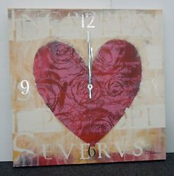 LARGE 16 SQUARE POSTER BOARD WALL CLOCK - DISPLAYING A LARGE RED HEART