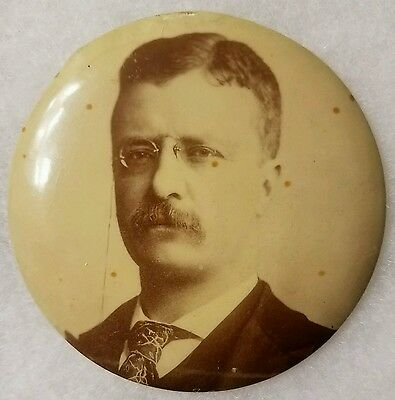 "Large 3.5"" Theodore Roosevelt campaign pinback button 1904"