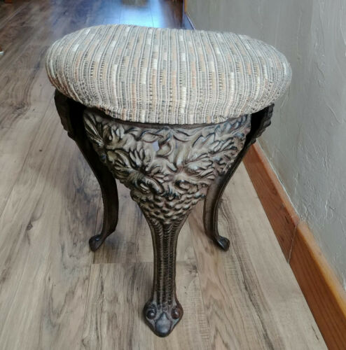 Vintage Style Repro Cast Iron Grape Leaves Vines Foot Piano Organ Stool