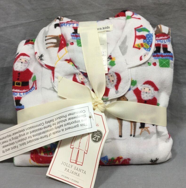 Pottery Barn Kids Jolly Santa Tight Fit Pajama Set Christmas Size 10 Htf Pajamas