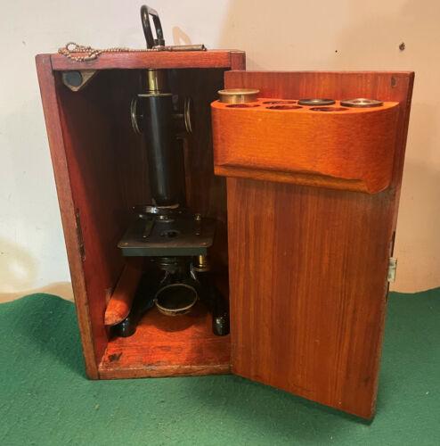 R & J Beck Ltd London Model 22 Brass Monocular Microscope Dovetail Case Lenses
