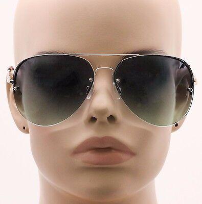 New Celebrity Aviator Sunglasses 2-toned Gradient Oceanic Lenses Metal (Rimless Aviator Sunglasses)