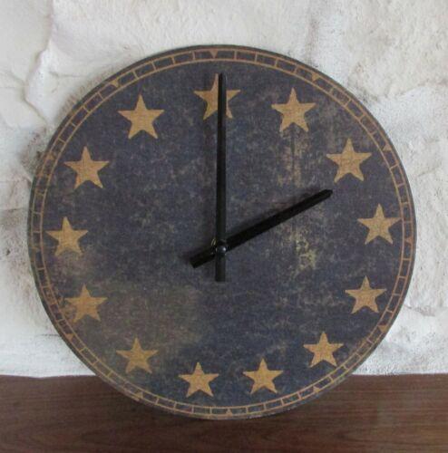 Americana Wall CLOCK*Navy Blue*13 Star*Primitive Home Farmhouse Colonial Decor