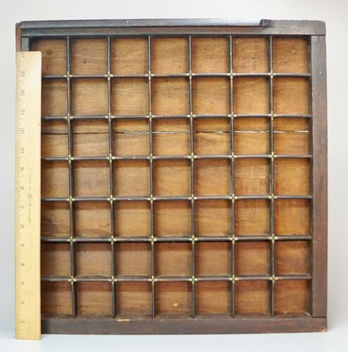 """Antique Wooden Printers Typesetters Tray Drawer Display Brass Accents 16.5"""""""