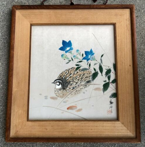"""OLD ORIGINAL VINTAGE JAPANESE """"QUAIL and FLOWER"""" WATERCOLOR PAINTING ON PAPER"""