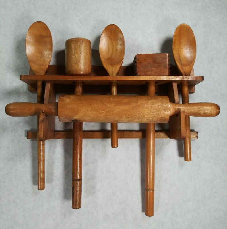 Vintage Wooden Wall Hanging Caddy Rolling Pin Utensils Spoons Complete Rare