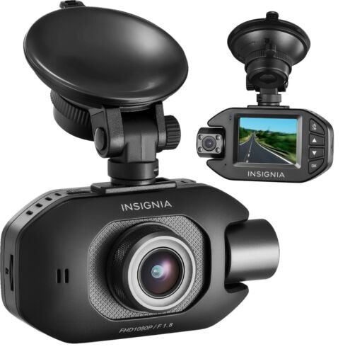 Insignia Full HD Front and Rear-Facing Dual Camera Dash Cam - Black