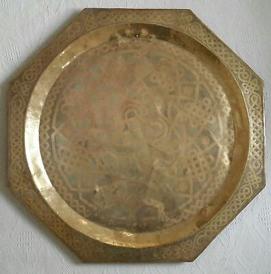 Antique Octagonal Islamic Geometric Art Work Brass Large Table Top Tray 90.5cm D