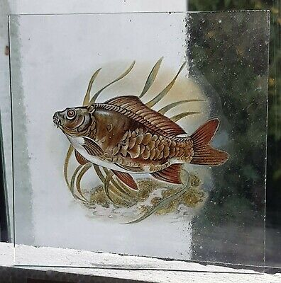 Stained Glass Mirror Carp fish Kiln fired pane fishing 11.5 cm x 11.5 cm approx