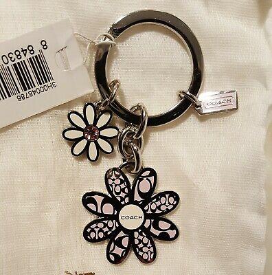 NWT COACH F92290 Signature C Daisy Flower Mix Pink Daisies Key Fob Keychain Mix Key Fob
