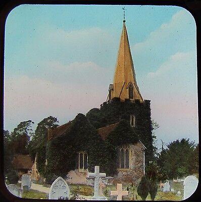 Glass Magic Lantern Slide STOKE POGES CHURCH  C1890 PHOTO BUCKINGHAMSHIRE