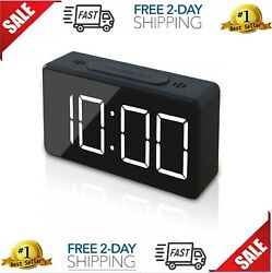 LED Digital FM Radio Alarm Clock Dual Alarm Snooze Sleep Time Battery Backup