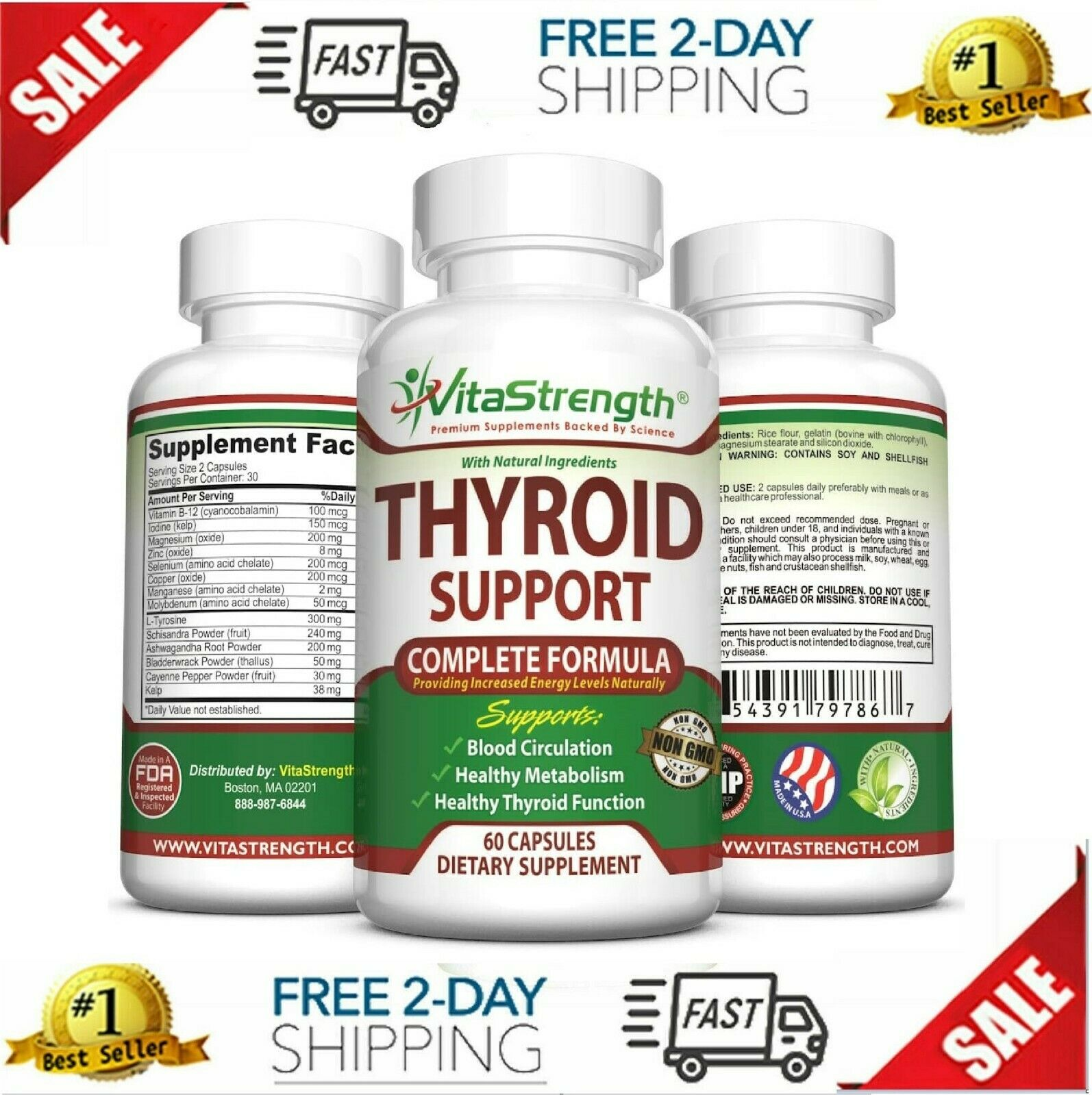 Pastillas Naturales Para Tiroides Con Vitamina B12 - Para La Salud De Tiroides