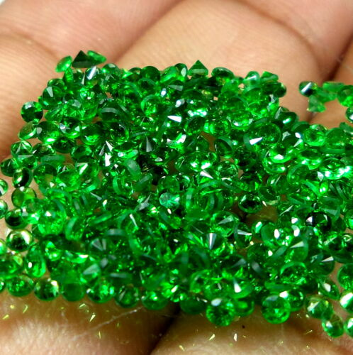 2 MM Diamond Cut Natural Deep Emerald Green Tsavorite Garnet Rounds 50 Piece Lot