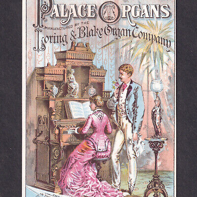 Victorian Parlor Palace Organ 1800's Loring & Blake Lothrop Dover NH Trade Card