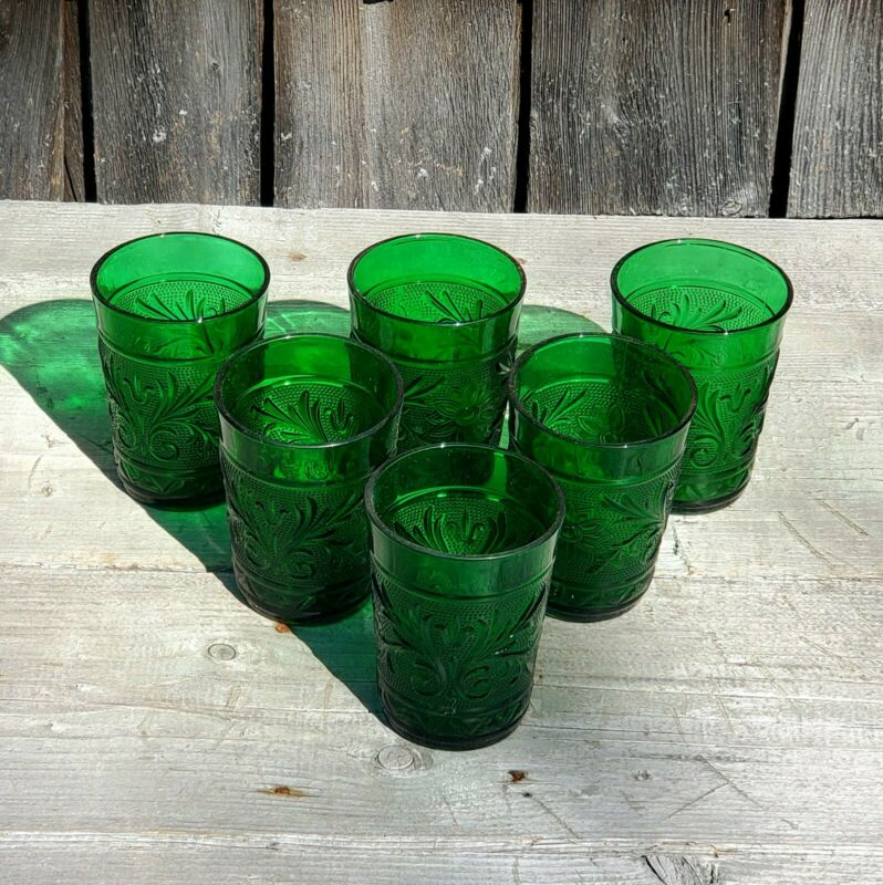 Vintage Forest Green Sandwich Glass S/6 Tumblers