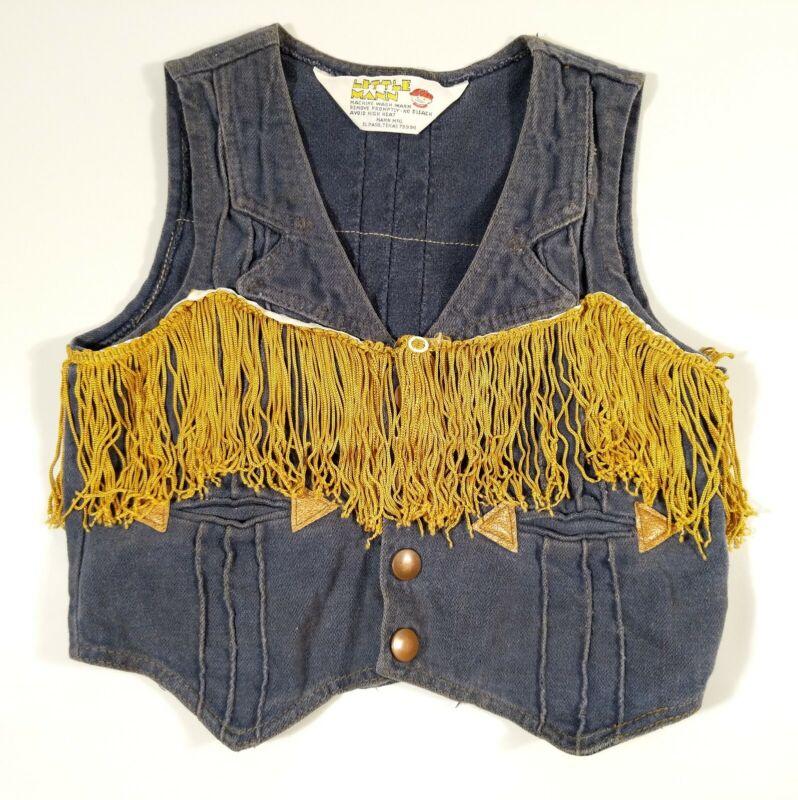 Vintage Little Mann Denim Western Cowboy Vest Gold Fringe Child Toddler Boys