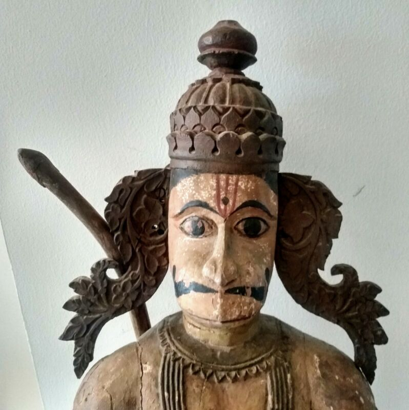 "18C India Monumental Polychrome Wood Sculpture of Hanuman ""Almighty Monkey God"""