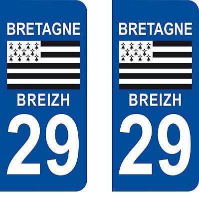 Département 29 sticker 2 autocollants style immatriculation AUTO PLAQUE Bretagne