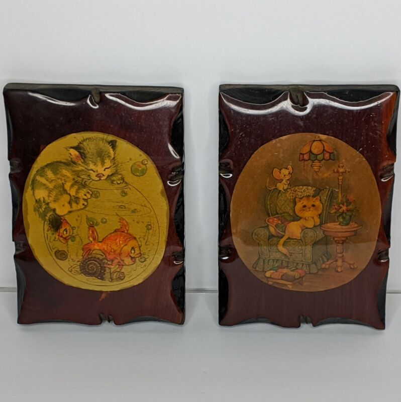 2 - Vintage Decoupage Wood Art Wall Hanging Kitty Cat Illustrations Dark Lacquer