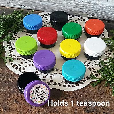 100 Mini Black Plastic Sample JARS Container Multi Color Lids 1 Tsp USA Reusable - Mini Jars Bulk