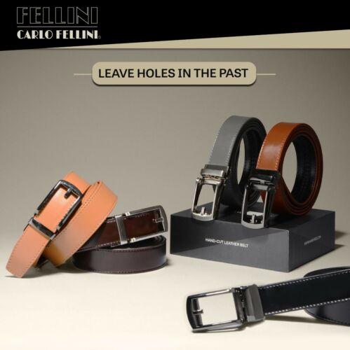 Mens Genuine Leather Ratchet Belt With Slide Dress Belt For Men
