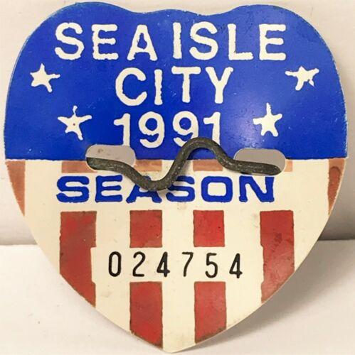 1991 Sea Isle City NJ New Jersey Season Beach Tag Badge Heart Flag Stars Stripes