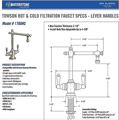 Waterstone Towson Hot & Cold Drinking Water Filtration Faucet Matte (Hot Filtration Faucet)