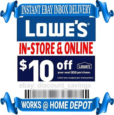 Lowes $10 Off $50 1COUPON-Fast Delivery-InStore/Online ~Good to 11/30?USE TODAY?