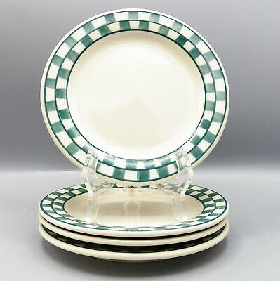 4 Hartstone Green Checks Salad Plate Checkmates Checkerboard Checked Lot or Set - Green Plate Set