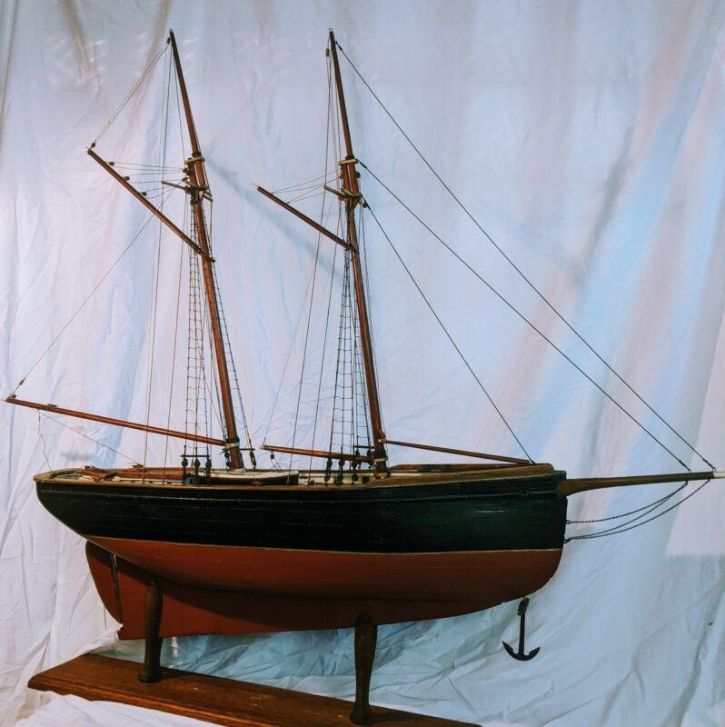 "48"" Antique Museum Wooden Schooner Ship Model Pond Yacht-Lead Keel, Bone details"
