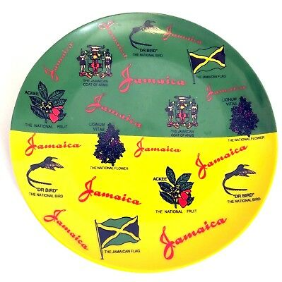 "Jamaica National Flag Plate Jamaican Oat of Army -Flower Fruit Bird -  7 1/4"" d."