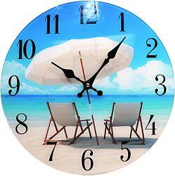 Glass Wall Clock Beach Chair 13X 13 Home Wall Decor Coastal Nautical Beach New
