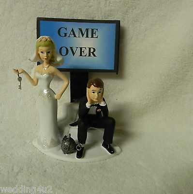 Wedding Party Reception Groom's Cake Ball & Chain Cake Topper ~Game Over Sign~   - Wedding Reception Games