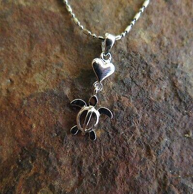 Hawaiian Jewelry - Hawaiian Jewelry 925 Sterling Silver Turtle with Heart Pendant SP22601