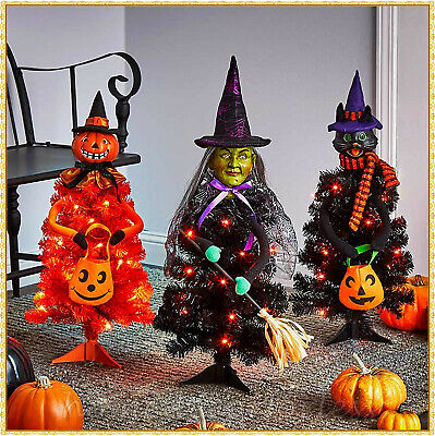 LED Lighted Halloween Character Tree WITCH PUMPKIN OR CAT Haunted House Decor