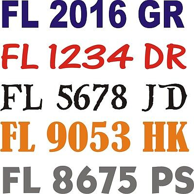 "Registration Numbers stickers Reg#s Marine Identity Decals Proof 2X 20"" x 3"""
