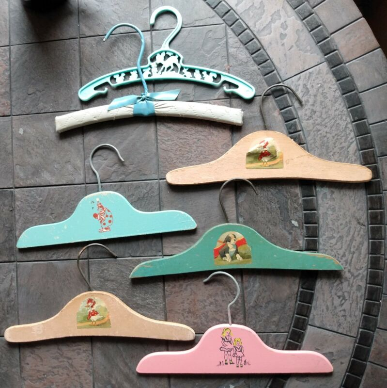 7 Vintage Baby Doll Clothes Hangers Painted Wood Plastic Cute Nursery Decor