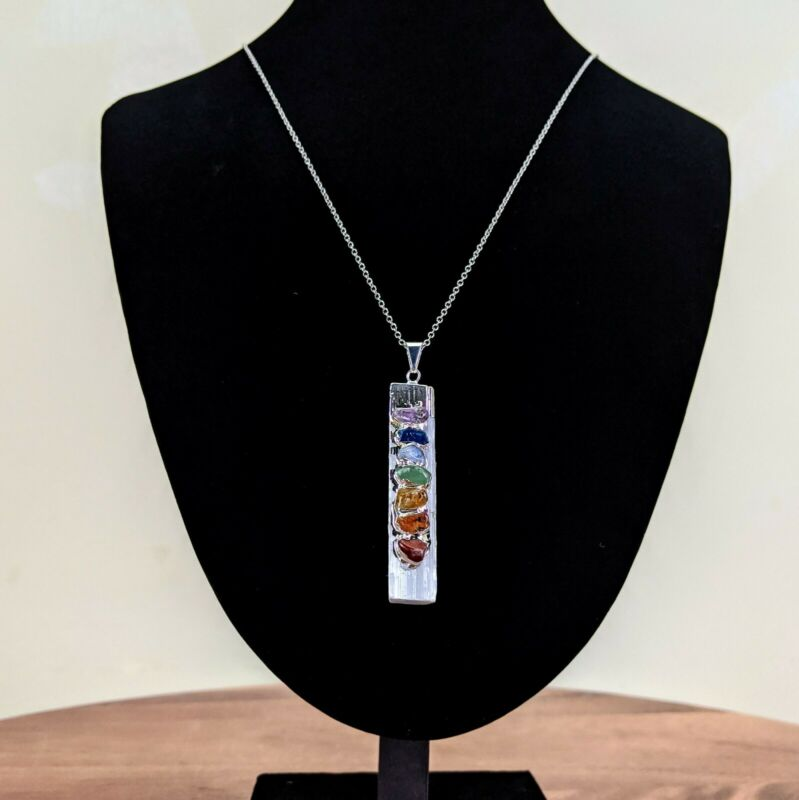 Selenite Chakra Pendant W/ Chain Healing Crystals Wicca Yoga Therapy Meditation