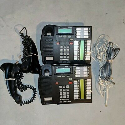 Lot Of 2 Nortel Networks T7316e Charcoal Business Phones With Handsets