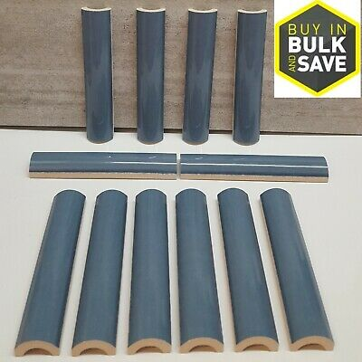 Allen Roth Tile Blue Ceramic Pencil Liner Half Round Wall Tiles Doomed 12-Pack