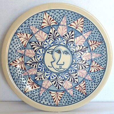 Cornish Hill Pottery Hand Thrown Wall Plate Faces Abstract Original Art Platter