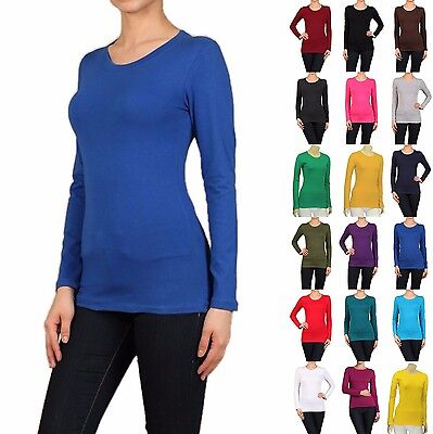 Cotton T-SHIRTS CREW/ROUND NECK Long Sleeve Women/Junior Solid Top S-XL