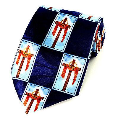 Draped Cross Mens Necktie Religious Christian Jesus Easter Blue Neck Tie New - Easter Christian