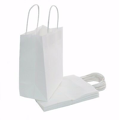 """8""""x4.75""""x10"""" - 100 Count - White Kraft Paper Bags - Shopping, Party, Restaurant"""